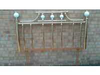 Brass and Ceramic Double Headboard
