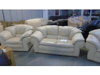 PRE OWNED 2 Seater Sofa + Armchair in Cream Leather