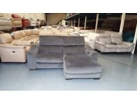 Ex-display Elixir grey fabric 3 seater chaise sofas