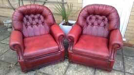 2 RED LEATHER CHESTERFIELD ARMCHAIRS