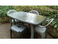 2 garden tables, 3 chairs,