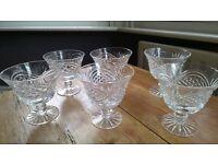 Set of six crystal desert glasses