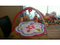 Baby girls play mat and selection of toys