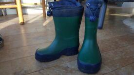 Children's Clarks green wellies size 8 1/2 Junior