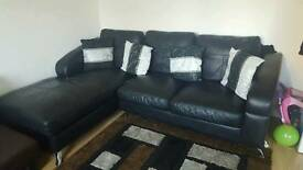 L shaped corner sofa with chair and stool