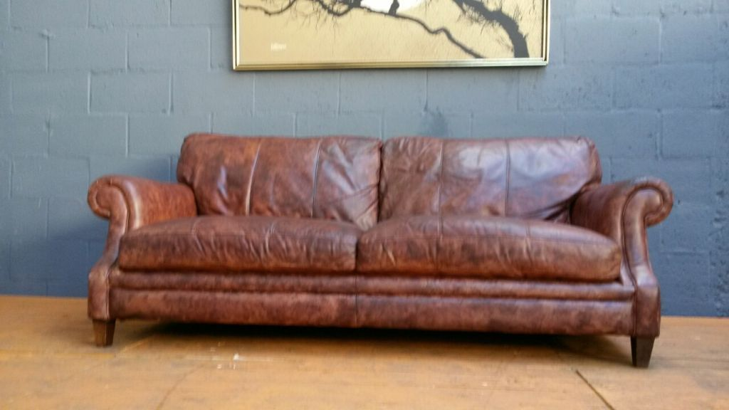Grand Cigar Brown Antique Leather Sofa In Hockley West Midlands