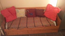Pine day bed with single mattress..good condition and already dismantled