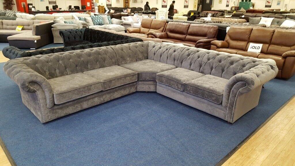 Grey Fabric Modern Chesterfield Corner Sofa In Huddersfield West