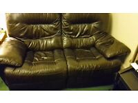 Recliner two seater black/brown leather sofa - mint condition