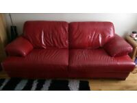 Pair of leather sofas, red, 3 seater and 2 seater