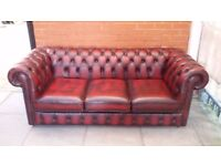 An Oxblood Red Leather Chesterfield Three Sofa Sofa Settee