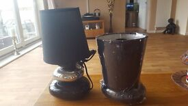 pair table lamps black and chrome new in box