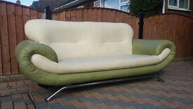Modern Sofa, cream and green with chrome legs, vgc