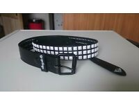 Fracture black belt with three row white studs - Size 42