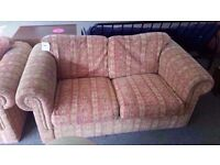 GOOD CONDITION! 2 piece 2 seater sofa and 1 chair set red and gold pattern very comfortable