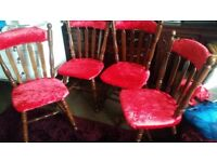 WOOD. RED VELUR 4 CHAIRS .EX.CONDITION
