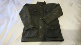 Kids Barbour Waxed Jacket with Hood
