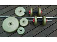 SOLD York barbell & 2 dumbbells with York Gold Vinyl weights totalling 70kg. Good condition