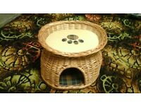 WICKER 2 TIER KITTEN OR SMALL CAT BED WITH REVERSIBLE PAD CUSHIONS