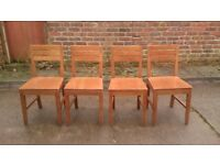 4 X SOLID WOOD DINING CHAIRS GOOD CONDITION BUT NEED TLC FREE LOCAL DELIVERY ST HELENS