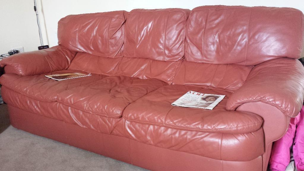Reduced Very Good Condition Leather 3 Seater Sofa And