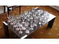 SET OF 40 DRINKING GLASSES, TUMBLERS, WINE & CHAMPAGNE FLUTES - MIXED GLASSES