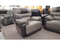 ScS Venus Grey & Black Leather Electric Recliner Armchair **CAN DELIVER**