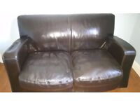 *REDUCED* Dark brown 2 & 3 Seater Genuine Italian Leather Sofa from DFS