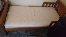 Wooden toddler bed & mattress, great condition