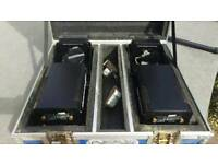 Soundlab professional 4 channel DMX scanners x2 with flight case and cables.