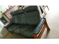 SOLD-Ekornes Stressless leather 3 seater sofa+recliner chair+footstool. Excellent condit.