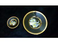The art of chokin plates x 2 black dishes, 24 carat Gold edging peacocks Japan