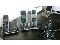 BT Inspire trio cordless phones. With answer machine and Including Power and phone plugs.