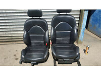 BMW E46 M3 Black Leather Electric Seats Coupe Pair
