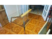 Heavy Glass and Chrome Dining Table