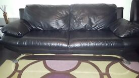 Used contemporary black leather Sofa 3+2 seater and recliner chair in excellent condition