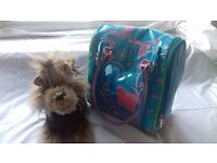 Fluffy toy dog and carrier