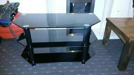 TV table unit black gloss