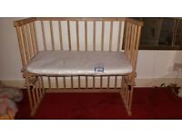 Wooden Co-Sleeper Cotbed with mattress