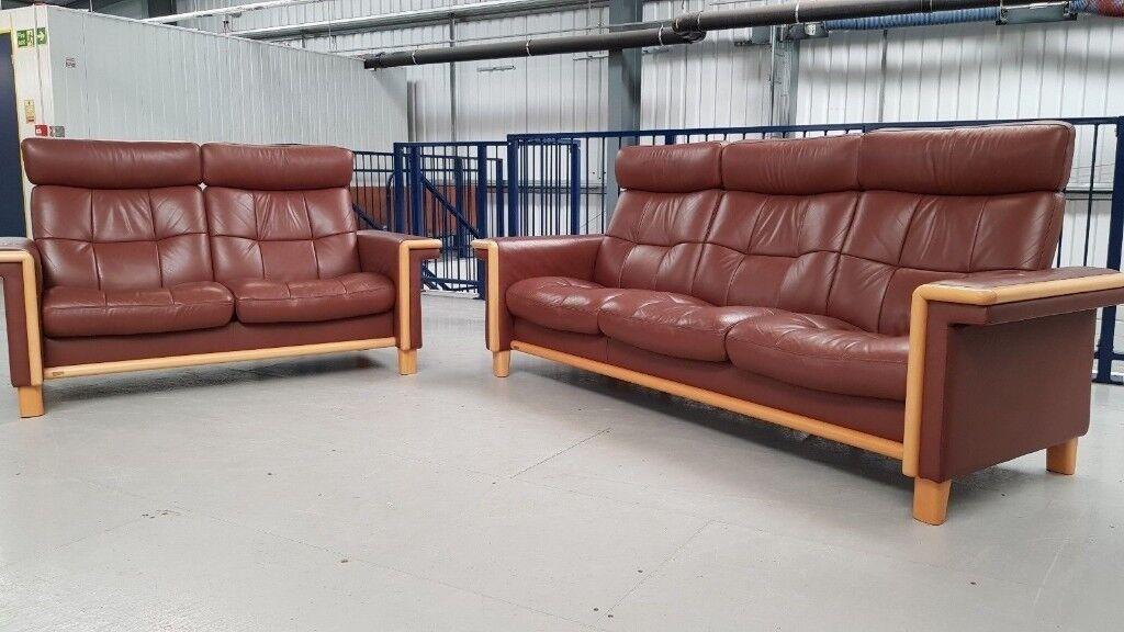 Ekornes Stressless 3 + 2 seater recliner sofas Leather suite   in Leeds ...