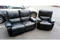 Black Sofa & Armchair
