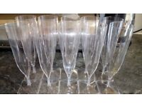 Plastic Champagne Flutes - For Picnics, Outdoor Parties, etc.