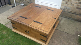 Wooden trunk converts into a great desk! Storage/Coffee Table