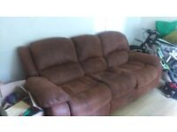 3 Seater Suede Recliner in Brown