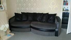Black and grey cuddle sofa