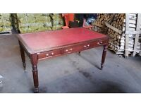 Red Leather Top Reproduction Antique Desk with Drawers