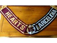 Hearts v Barcelona football scarf