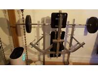 Weight lifting bench and weights 55kg