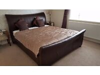 Super King Brown Leather Sleigh Bed