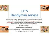 JD'S handyman service, all aspects of DIY & home improvements & maintenance